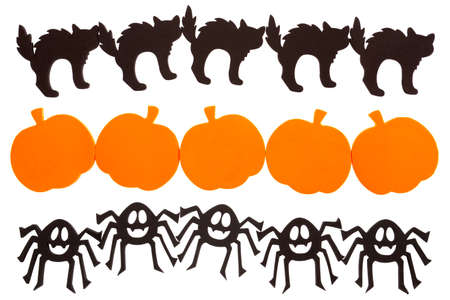 Black cat, pumpkin and spider borders isolated on white photo
