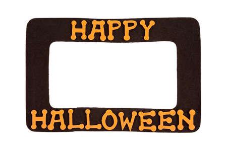 Foam Happy Halloween photo frame isolated on white