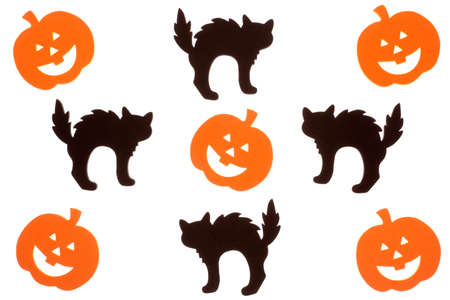 Foam jack o lantern and black cat Halloween cut outs isolated on white Stock Photo
