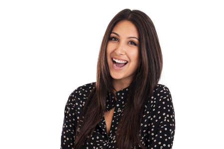 Happy laughing beautiful mixed race business woman portrait isolated on white