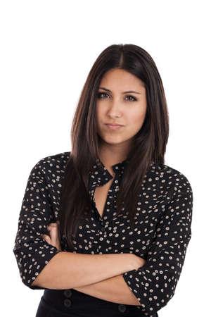 mujer enojada: Hermosa mujer de negocios de raza mixta, con expresión de frustración aislados en blanco