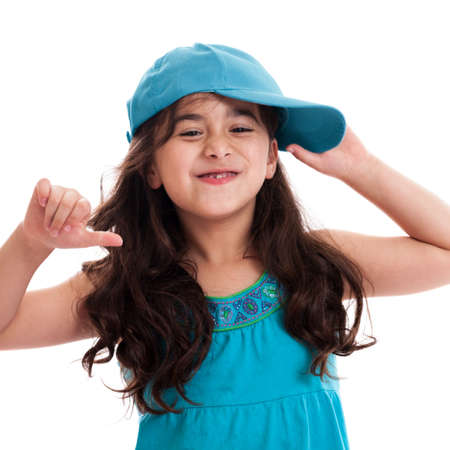 Cute 7 year old hip hop girl isolated on white photo