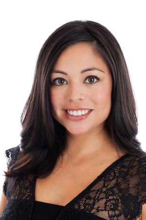 Headshot portrait of a beautiful mid 30s Hispanic woman isolated on white