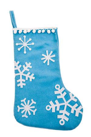 white stockings: Blue felt snowflake Christmas stocking isolated on white background