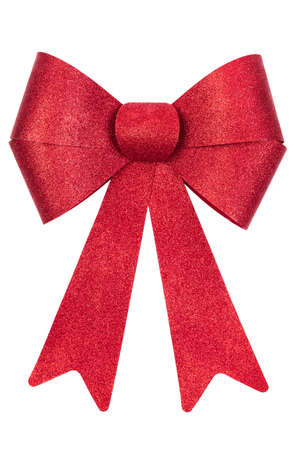 red glittery: Red glittery Christmas bow isolated on white