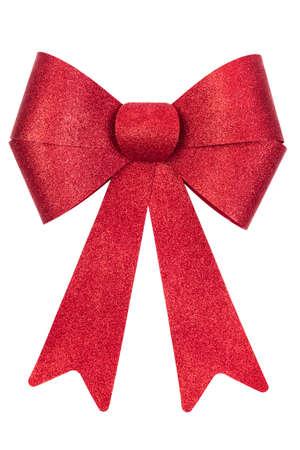red glittery: Rossi rilucenti di Natale prua isolato su bianco Archivio Fotografico