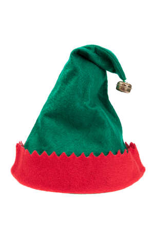 Red and green elf Christmas hat isolated on white Standard-Bild