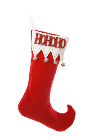 christmas sock: Red and white Christmas stocking with bells isolated on white