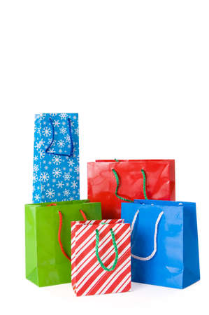 gift bags: Group of Christmas gift bags isolated on white background