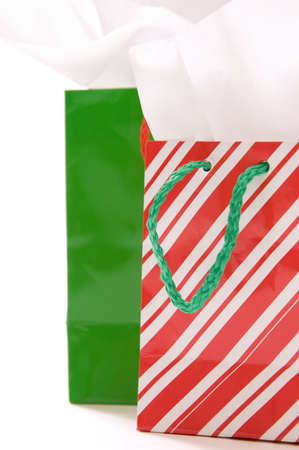 Red and green Christmas gift bags  photo