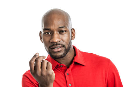 Portrait of a handsome late 20s black man with show me the money expression isolated on white background photo