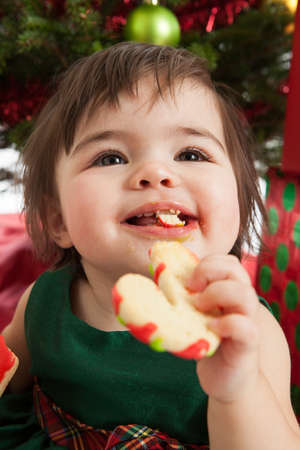 1 year old girl eating cookies in front of the Christmas tree