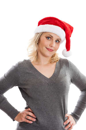 sassy: Sassy woman with hands on hips wearing Santa Hat isolated on white Stock Photo