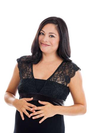 Beautiful Hispanic pregnant woman portrait isolated on white photo