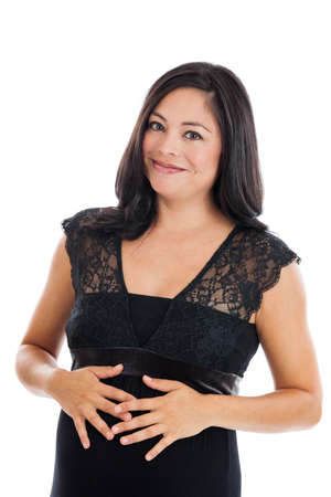 expectant mother: Beautiful Hispanic pregnant woman portrait isolated on white