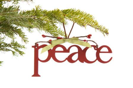 branche sapin noel: ornement de paix sur une branche d'arbre de No�l Banque d'images