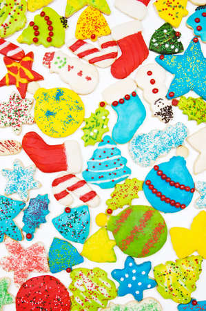 Iced Christmas cookie background photo