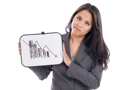 Asian business woman showing downward trend on a whiteboard photo
