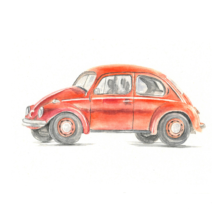 Watercolor illustration of fiat 500 red car on white background Editorial