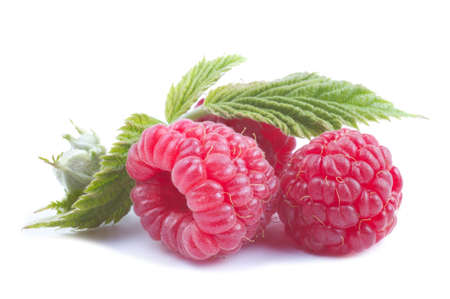 Bunch of a red raspberry isolated on white photo