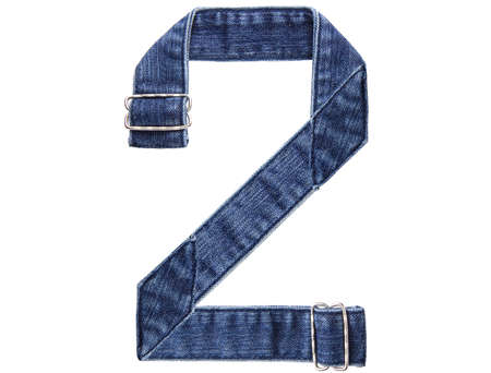 Jeans belt in from of English US alphabet isolated on white, number 2