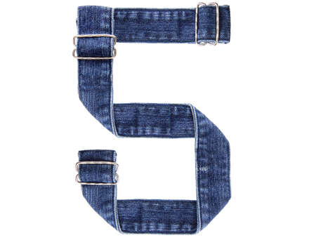 Jeans belt in from of English US alphabet isolated on white, number 5