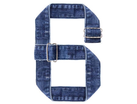 Jeans belt in from of English US alphabet isolated on white, number 6