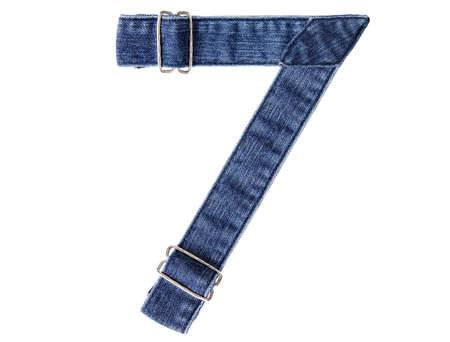 Jeans belt in from of English US alphabet isolated on white, number 7 Stock Photo