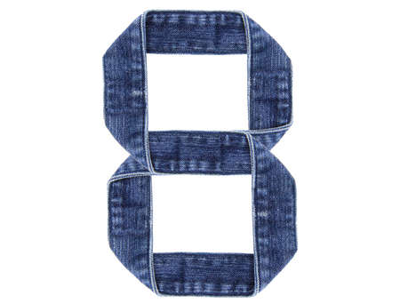 Jeans belt in from of English US alphabet isolated on white, number 8 Stock Photo