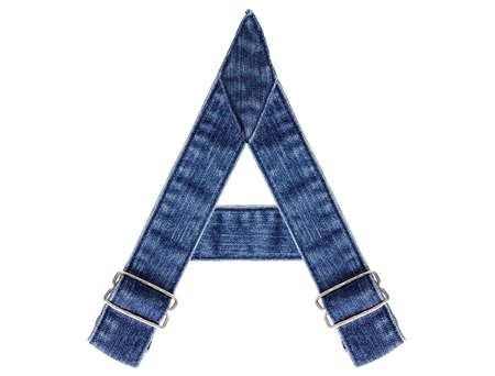 Jeans belt in from of English US alphabet isolated on white, letter A