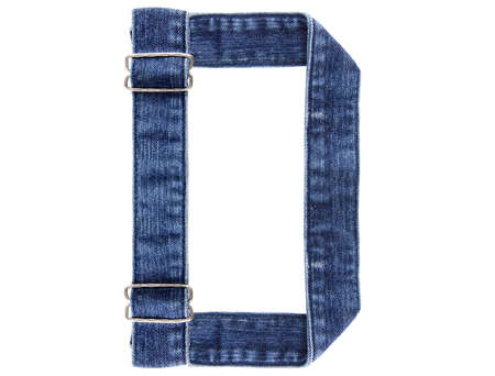 Jeans belt in from of English US alphabet isolated on white, letter D