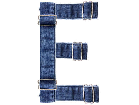 Jeans belt in from of English US alphabet isolated on white, letter E