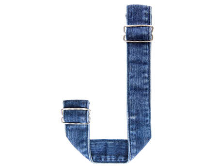 Jeans belt in from of English US alphabet isolated on white, letter J photo