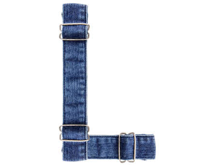 Jeans belt in from of English US alphabet isolated on white, letter L