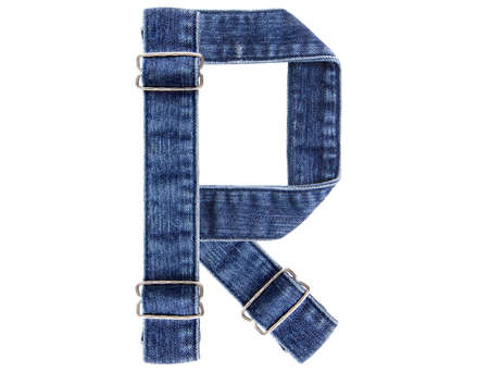 Jeans belt in from of English US alphabet isolated on white, letter R Stock Photo