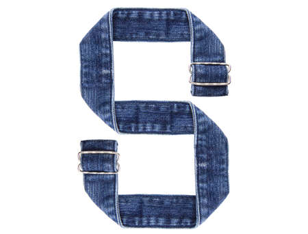 Jeans belt in from of English US alphabet isolated on white, letter S Stock Photo