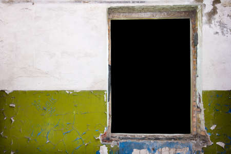 Dark green painted aged brick wall with window hole background photo
