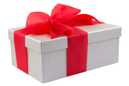 Single silver gift box with red ribbon on white background