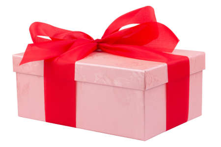 Single pink gift box with red ribbon on white background