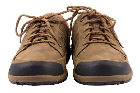 Brown men s boots isolated on white background Stock Photo