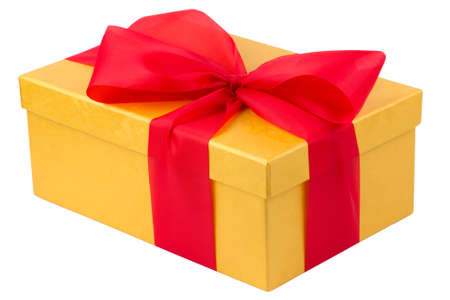 Single yellow gift box with red ribbon on white background