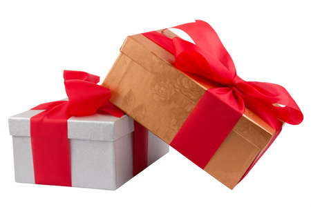 Two gift boxes with red ribbon on white background Stock Photo