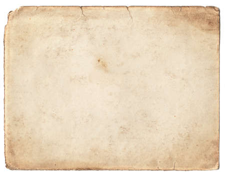 the historical: Blank vintage photo paper isolated on white background Stock Photo