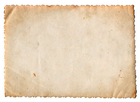 Blank vintage photo paper isolated on white background Stock Photo