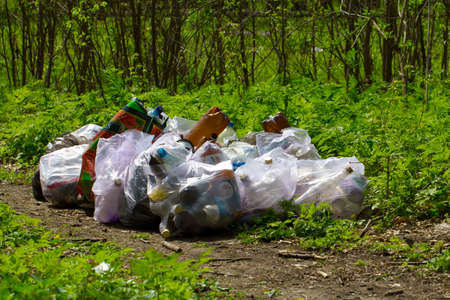 Bags full of garbage in forest photo
