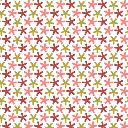 Repeating stars with round angles, seamless pattern