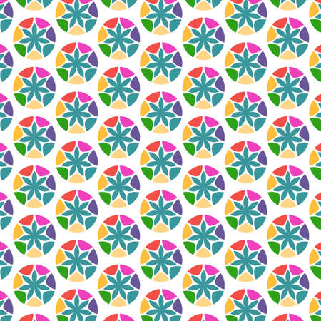 Flowers and circles abstract seamless pattern, modern stylish texture, repeating geometric tiles  Vector