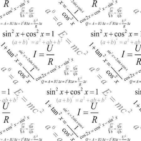 Trigonometry, algebra and physics formulas seamless pattern, modern stylish texture, repeating geometric tiles  Vettoriali