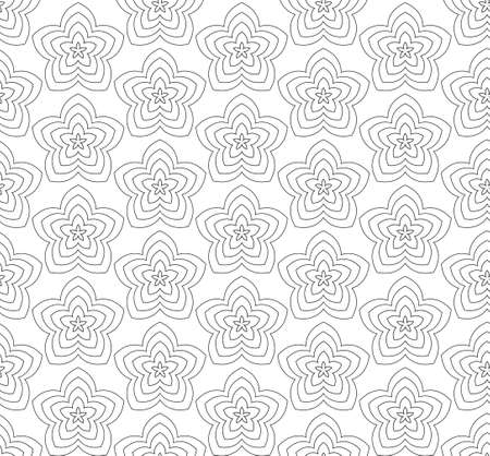Flowers, black and white abstract vector seamless pattern