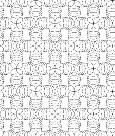 Clover leafs, black and white abstract vector seamless pattern